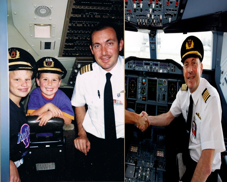 On the left my sister and I are seen with Captain Mark Penklis (1991-ish). On the right is a photo of Captain Penklis from 2012 still slying with Qantas.